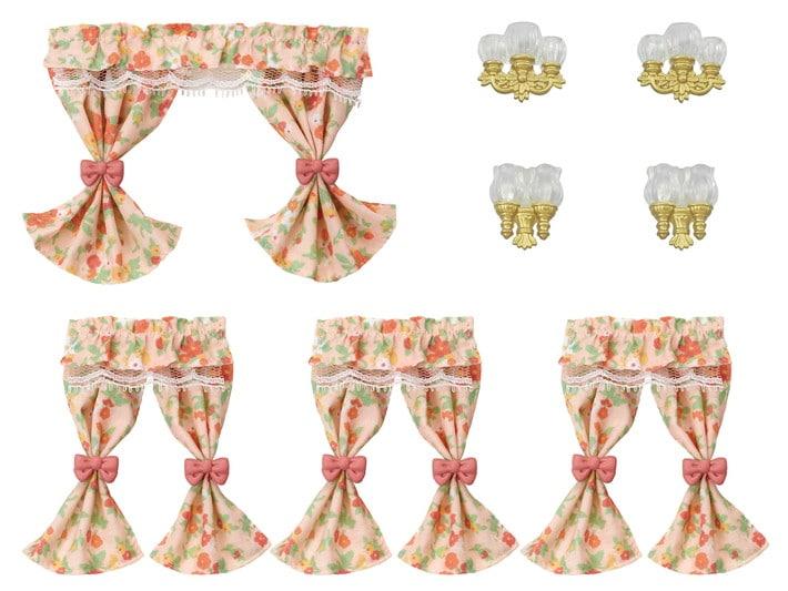Wall Sconces & Curtains Set - 6